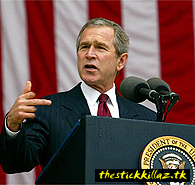 Funny picture of bushs middle finger.